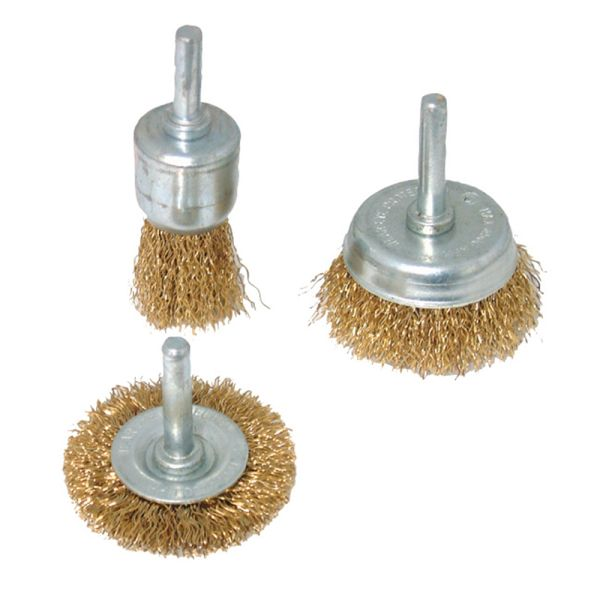 Brassed Steel Wire Wheel & Cup Brush 3-Piece Set
