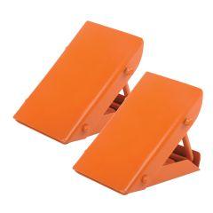 Fold-able Heavy Duty Wheel Chocks/ Stops Folding Bright Orange 2-Piece Set