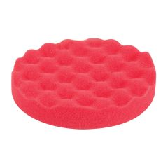 "6""/ 15cm Waffle Foam Hoop & Loop Finishing Pad (Red) for Paint Detailing"