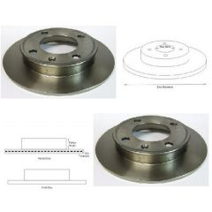 Brake Discs Matched PAIR Ford Fiesta Mk1, Mk2