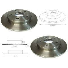 Brake Discs Matched Rear PAIR Ford Granada Mk3