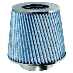 Sports Air Filter Open-Top Blue Funnel Silver Mesh