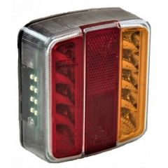 4 function Clear LED Trailer Lamp - Small Square