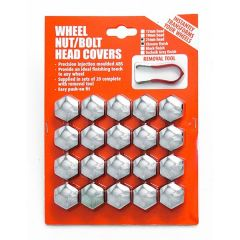 CHROME-LOOK Wheel Nut/ Bolt Covers 17mm 20pcs With Puller