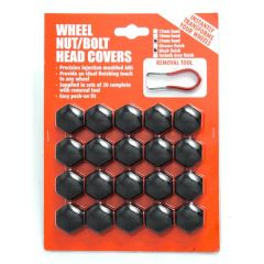 BLACK Wheel Nut/  Bolt Covers 17mm 20pcs With Puller