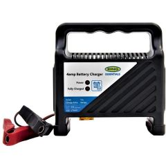 Compact 12V 4-Amp Battery Charger with Integral Handle and LED  Indicators