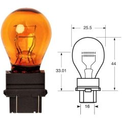 12V 27/7W w2.5X16 Amber With Plastic Push-In Type Holder