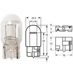 12v 21w W21W W316d Capless Clear All Glass Bulb