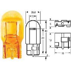 12v 21w WY21W W3x16d Capless Amber All Glass Bulb