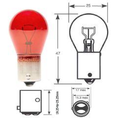 12v 21w BAW15s Red Brake/ Stop Light Bulb Off Set Pins PR21W