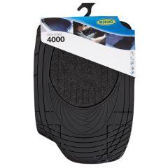 Ultra Shield 4000 Black Universal Car Mats Set of 4 Carper Inlay with PVC Rubber