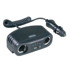 Twin 12-Volt Socket Multiplier + USB 5V Socket Extension with Lock Collar Battery Analyser & Curly Cable