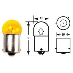 12v 10w BAU15s Indicator (Amber) Light Bulb Scooter/ Motor Cycle  With Off-Set Pins