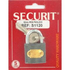 Iron Padlock  Brass cylinder with 2 steel keys 32mm Shackle