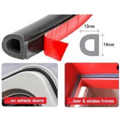 Multi-Purpose Self-Adhesive D-Shape Seal PER 1-Metre