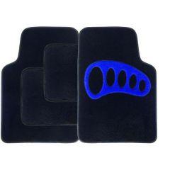 BLUE Heel Pad Carpet Car Mats 4-Piece Set