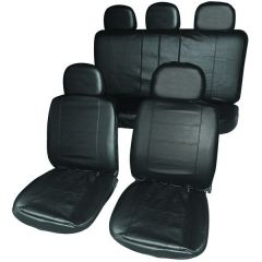 Car Seat Covers Leather Look Black Front & Rear Set With Head Rests Type Premium