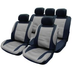 Car Seat Covers Grey & Black Front & Rear Set With Head Rests Type Nabrska