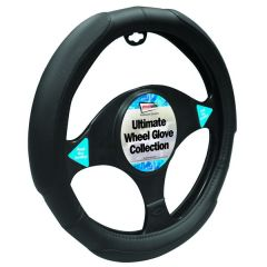 Car Steering Wheel  Glove/ Cover Black Cushioned Grip Style