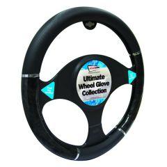 Car Steering Wheel Cover Black with  Black/ Grey Metallic Effect